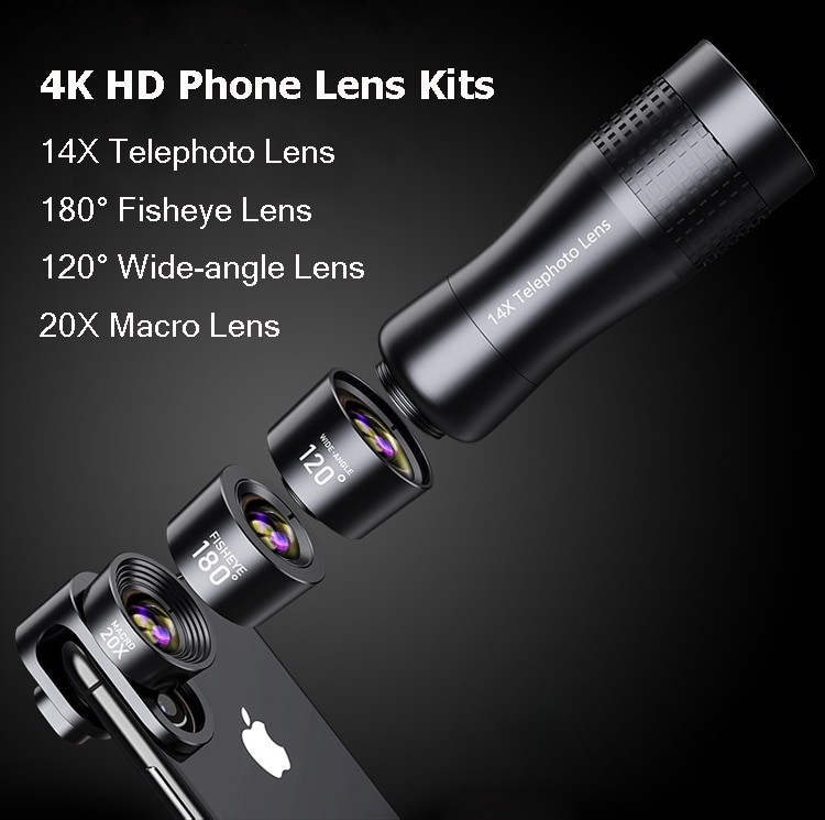 Camera Phone Lens Kits:Macro Lens 14X Telephoto Lente Wide Angle Fisheye Lenses For Samsung S10 S10E S9 PLUS NOTE 9 For Xiaomi