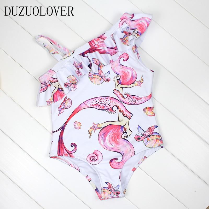 Traje de baño para niñas con patrón de sirena rosa para niños de una pieza traje de baño para niños de 3 a 8 años