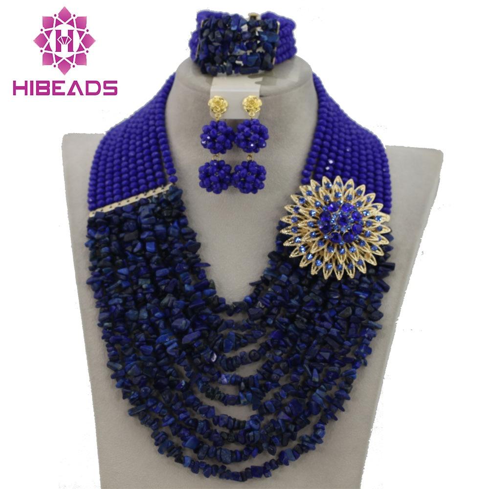 Terrific 2017 Indian Bridal Jewelry Set Blue African Nigerian Wedding Beads Jewelry Set Crystal Beads Set Free Shipping GS433