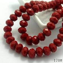 Groothandel 40pcs 8mm Rondelle Facet Crystal sieraden Porselein Glas Losse Spacer Kralen Deep red sieraden