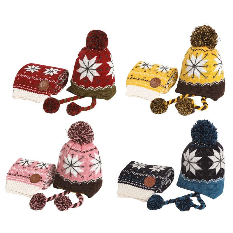 Invierno 2 unids/set niño espesar gorros para mantener el calor y la bufanda de bebé de dibujos animados de tapa para 6 meses-12 años de edad niños niñas