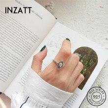 Женское Винтажное кольцо INZATT, элегантное регулируемое кольцо из серебра 925 пробы с овальным зеркальным покрытием, вечерние ювелирные издел...
