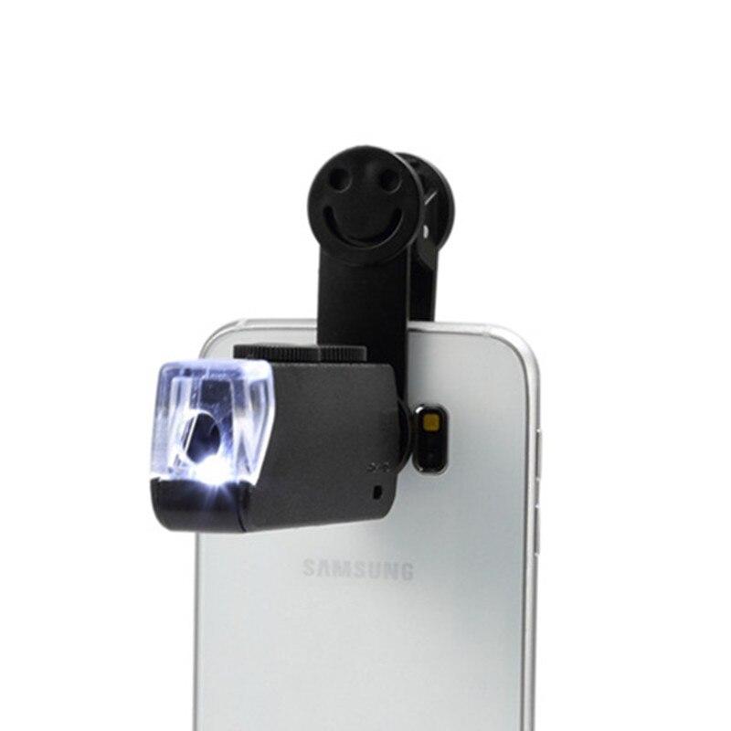 60-100X Zoom Handy linsen Mikroskop Universal Lächeln Clip Lupe Kamera Objektiv für Samsung Galaxy S8 S7 Iphone 7 6 6S 5