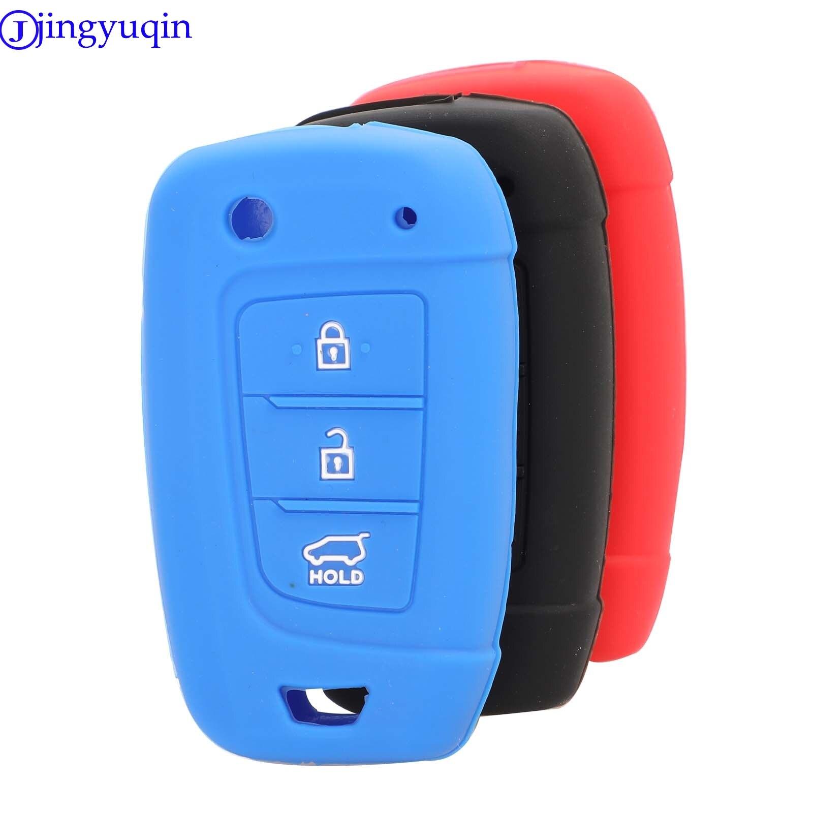Jingyuqin 3 botón silicona remoto clave Shell caso de la cubierta para Hyundai Solaris 2 Elantra i30 i35 i40 Tucson Kona 2015 2016, 2017, 2018,