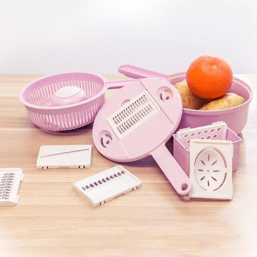 8 в 1 Cut + мыть овощерезка сталь лезвие мандолина измельчитель для картофеля