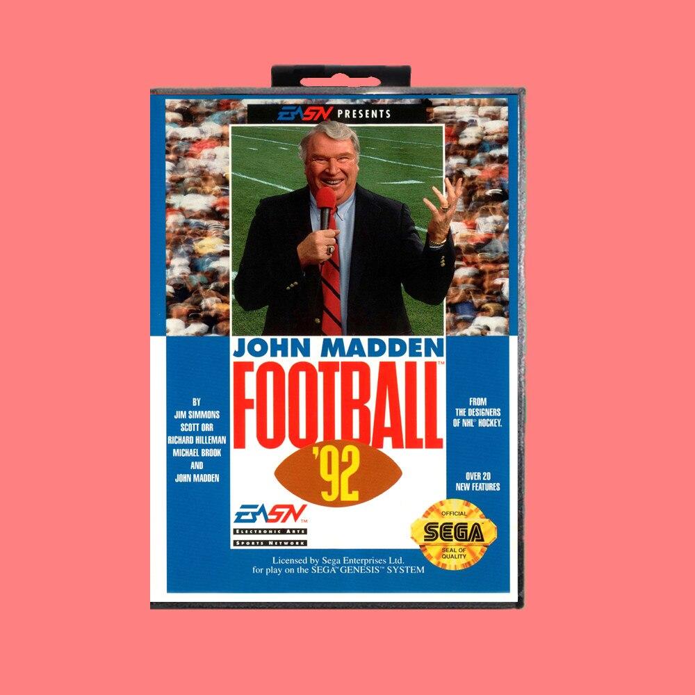 Tarjeta de juego MD de 16 bits 92 de fútbol John madden con caja de venta al por menor para Sega Genesis & Mega Drive
