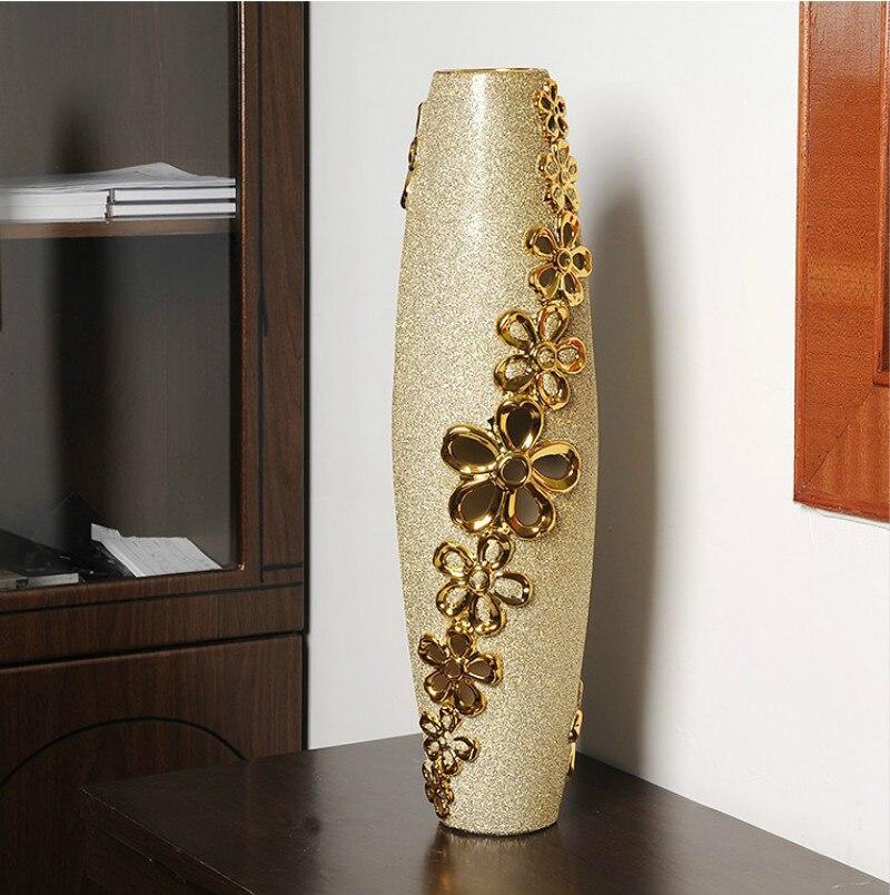 Grandes vasos de estilo europeu casa decorações cerâmica ornamentos artesanato material floral/60 cm alta