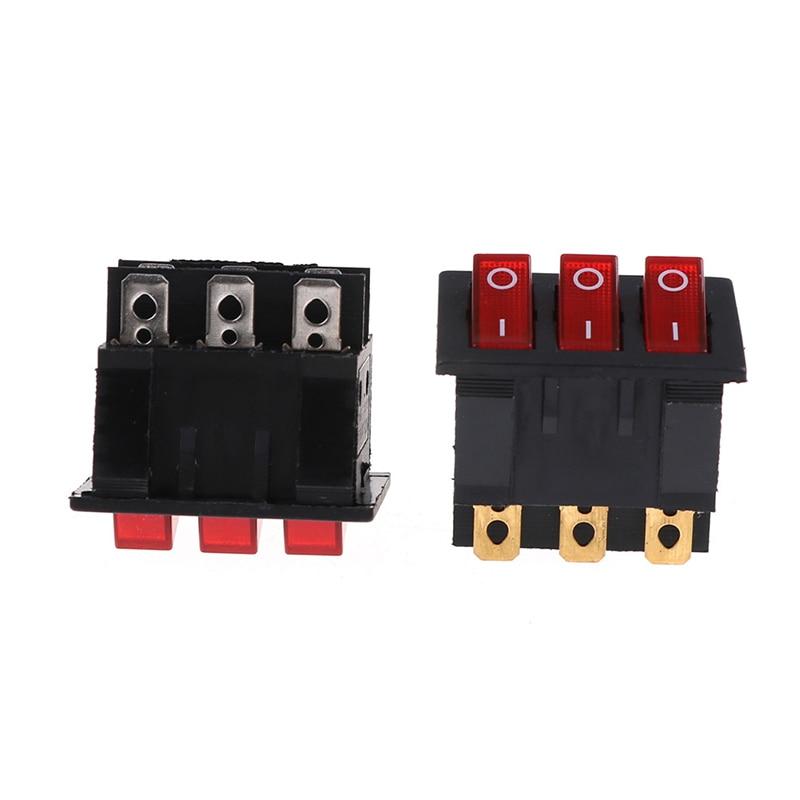 2 unids/lote KCD4 Triple 9-pin interruptor basculante 15A/250V al por mayor