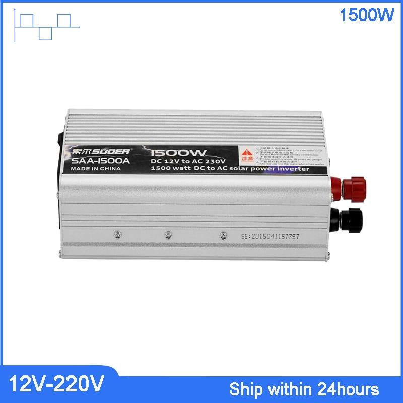 Портативный автомобильный преобразователь мощности 1500 Вт 12 В в 220 В, конвертер зарядного устройства для домашнего применения, трансформато...