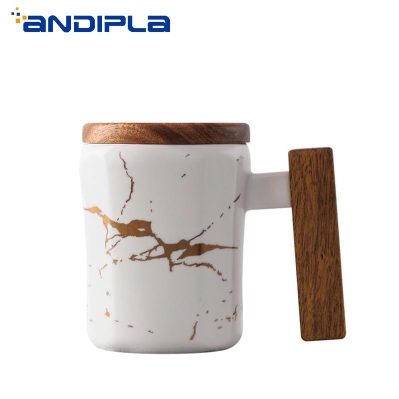 Taza de café con textura de mármol de estilo nórdico de 370ml con mango de madera, tazas de agua, creativa Taza de cerámica, té, leche, recipientes de desayuno
