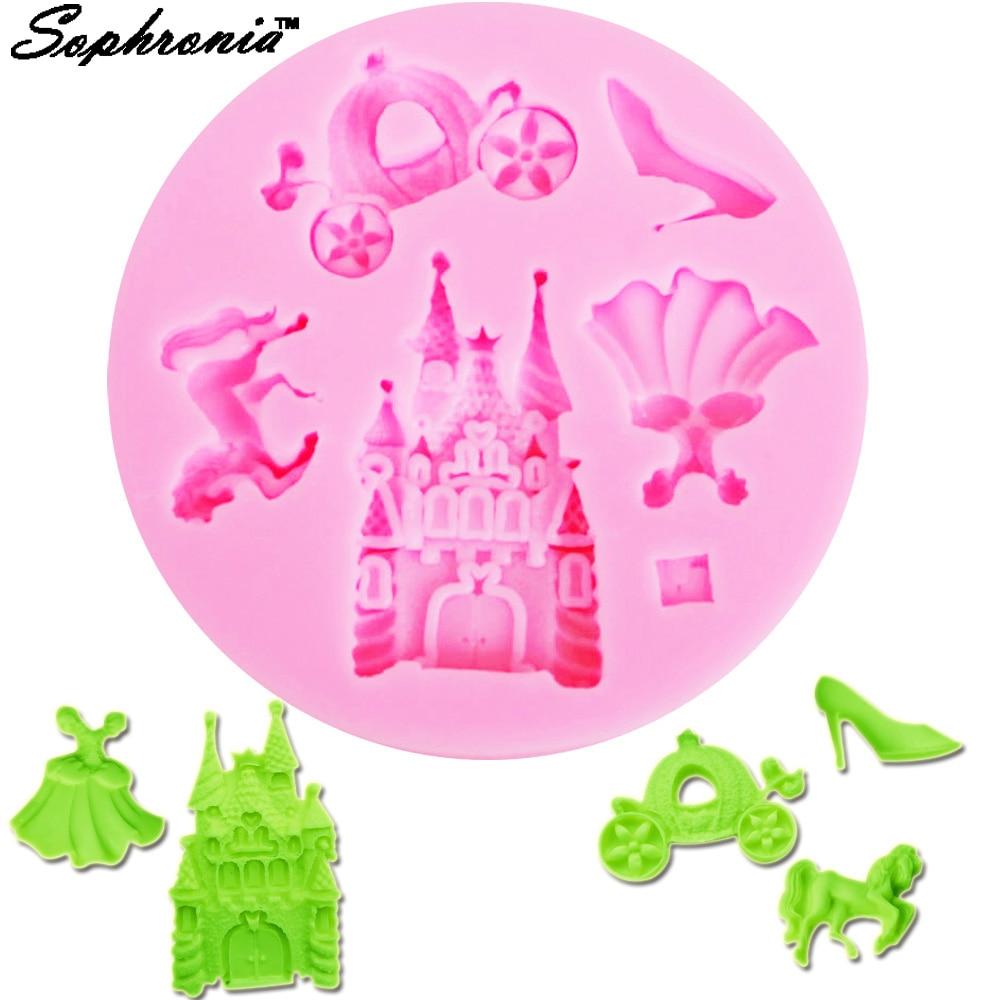 Sophronia M558 Fairy Dress Castle Coach Dress Glass Slipper Horse Shape Silicone Molds princess Cake Decoration Tools 8.6*0.8cm