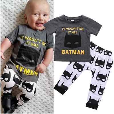 2016 Newborn Baby Clothes 0-24M Infant Kids Boys Girls 2PCS Summer Short Sleeve T-Shirt Top and Pant Batman Clothes Children Set
