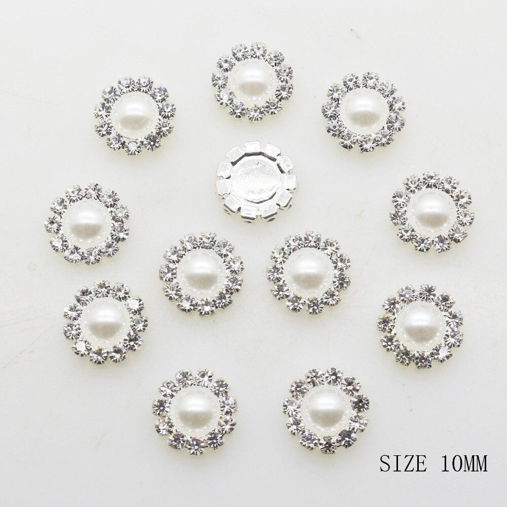 Zmasey botões redondos de prata, 10mm, 10 pçs/lote, diy, acessórios de pérola branca, decoração para festival, diâmetro, atacado