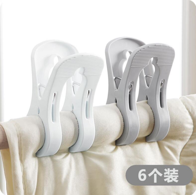 Haushalt Kunststoff Trocknen Wäscheklammer Große Bettlaken Clips Winddicht Handtuch Clips Aufhänger 6 Teile/los Starke Sockenklammern Wäscheklammern