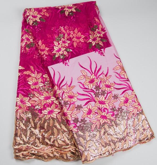 5 ярдов/шт, хорошая продажа, фуксия, французская сетка, кружевная ткань с маленькими пайетками, цветочный узор, африканские сетчатые кружева ...
