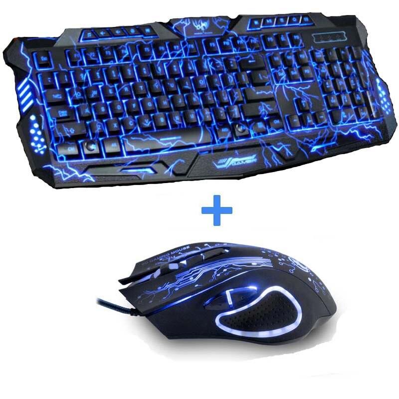 Teclado de Juegos de ordenador con retroiluminación tricolor Teclado USB con cable Teclado de juego con llave en N para PC escritorio portátil pegatina rusa