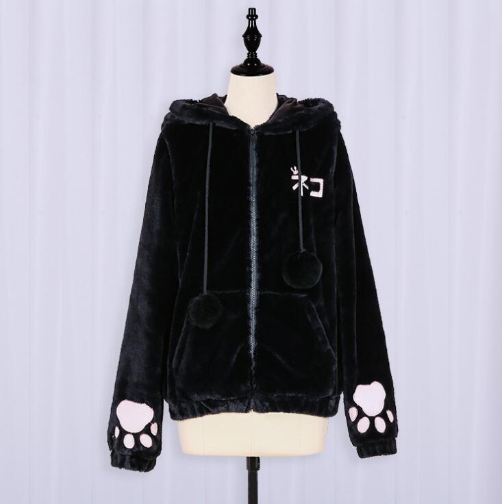 Anime Lolita mujeres gato pata chaqueta estudiante invierno Cosplay abrigo Faux Fur Sudadera con capucha polar suave lindo gato orejas cortas abrigo