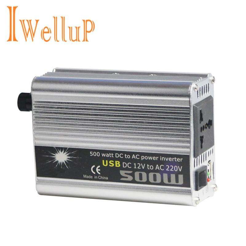 Автомобильный инвертор Iwellup 500 Вт, 12 В, 220 В, 50 Гц, автоматический инвертор 12 220, разъем для прикуривателя, преобразователь питания, пиковая мощность 1000 Вт