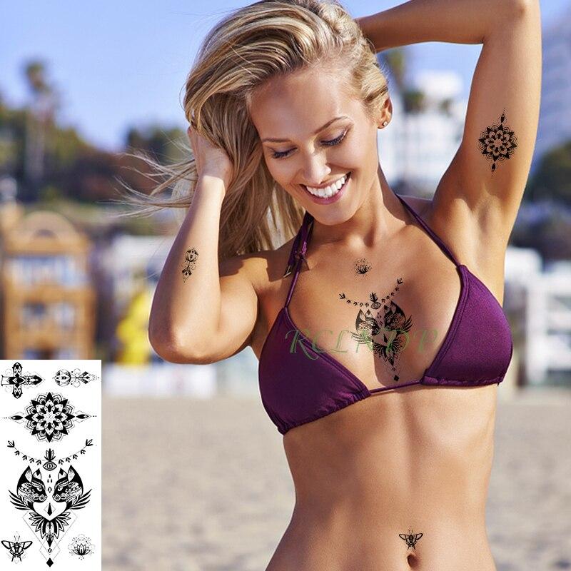 Impermeable etiqueta engomada del tatuaje temporal los ojos mariposa dos pegatina de gatos falso prediseñado tatuajes tatouage kit completo para hombres mujeres