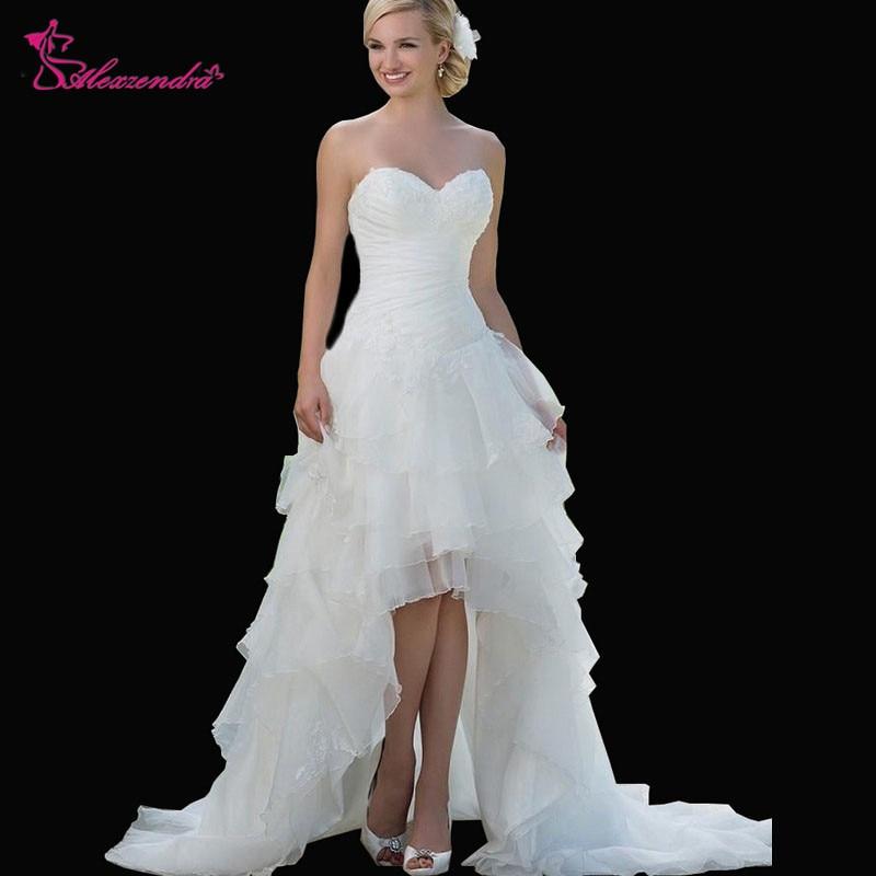 Alexzendra A Line على شكل قلب فساتين زفاف عالية منخفضة الأورجانزا زينة قصيرة الجبهة طويلة الظهر زي العرائس تخصيص