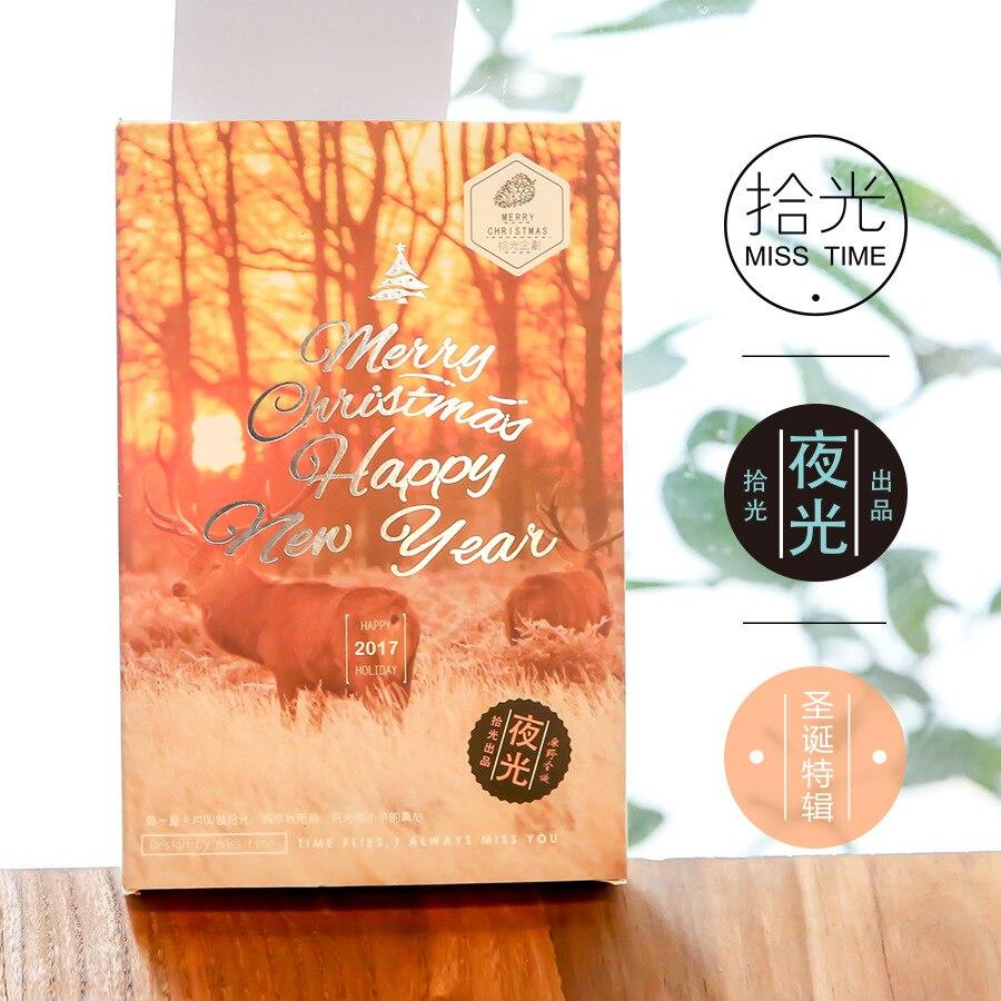 30 hojas/lote Feliz Navidad Feliz Año Nuevo postal luminosa/tarjeta de felicitación/tarjeta de deseos