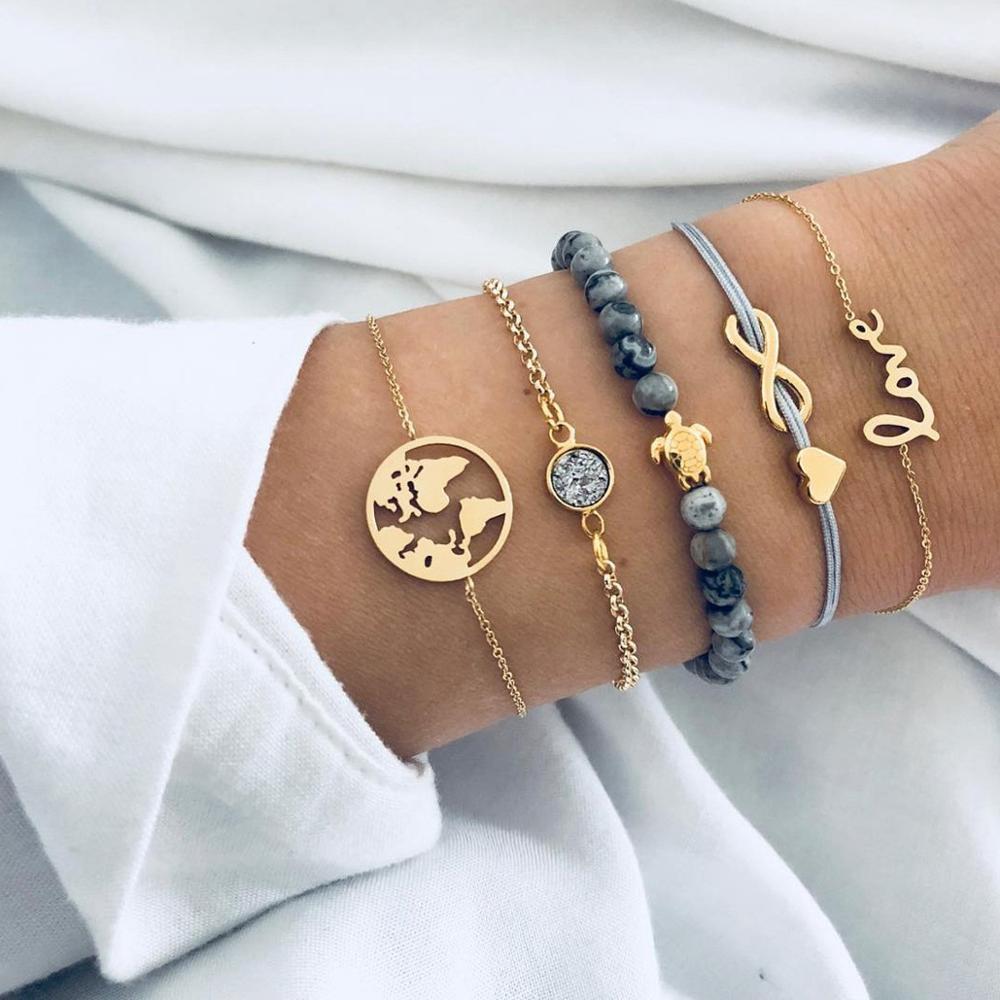4/5 PCS Bohemian Map Turtle LOVE Beach Bracelet Set Cute Pineapple Shell Tassel for Women Holiday Jewelry
