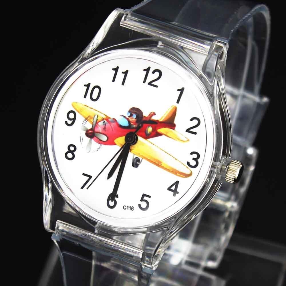 Aircraft Fighter Aviator Dream Kids Childrens Cartoon Gift Quartz Watches Boy Girl Transparent Band Baby Birthday Wrist Watch