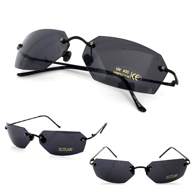 Matrix morpheus óculos de sol filme óculos de sol homem 15.9g ultraleve sem aro clássico oculos gafas de sol 2018 novo