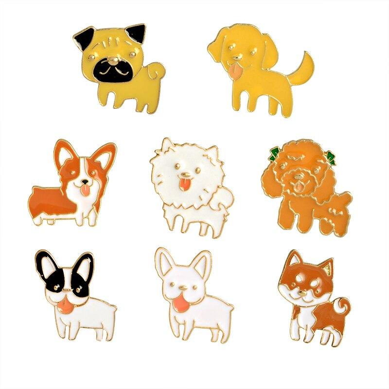 Desenhos animados animais de estimação cão filhote de cachorro pinos poodle labrador corgi bulldog esmalte pino broche moda emblemas jóias presente para menina menino miúdo