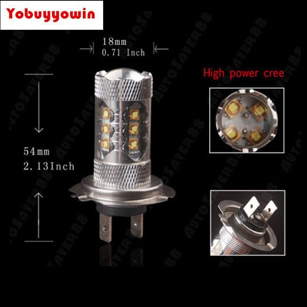 ¡Oferta! 2 uds coche H7 80W Chips CREE LED foco blanco coche niebla/luz de conducción/DRL bombilla para faro delantero Canbus Auto iluminación