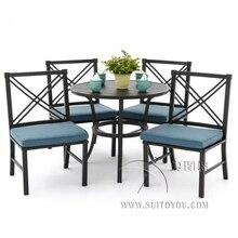 Ensemble de salle à manger patio en aluminium coulé (ensemble 5 pièces) table ronde 47 pouces