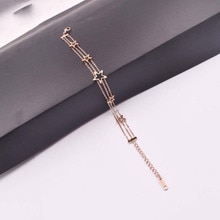 MIARA. L bracelet étoile de corée exclusif transfrontalier femme or rose multi-couche simple joker tidécolleté drop acier titane orthèse