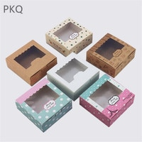20pcs Cupcake box with window White Brown kraft paper Boxes Dessert Mousse Packaging Box 4/6/8 Cup Cake Holders Box wholesale