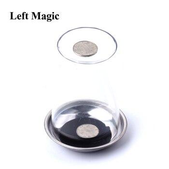 1 Pcs Münze Dringt in Die Tasse Tricks Die Gute Stretch MÜNZEN Durch Die Glas Magische Stahl Tasse Matte Magie trick Requisiten