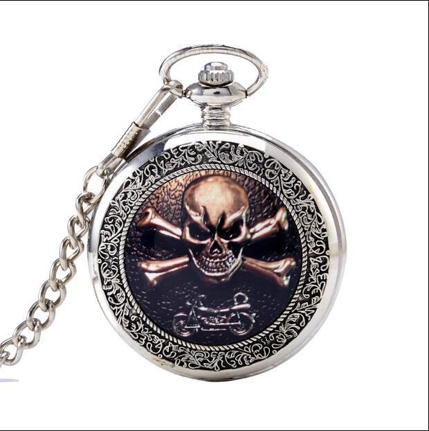Relojes de bolsillo de cadena de vaquero de regalo para hombre reloj con tapa de calavera