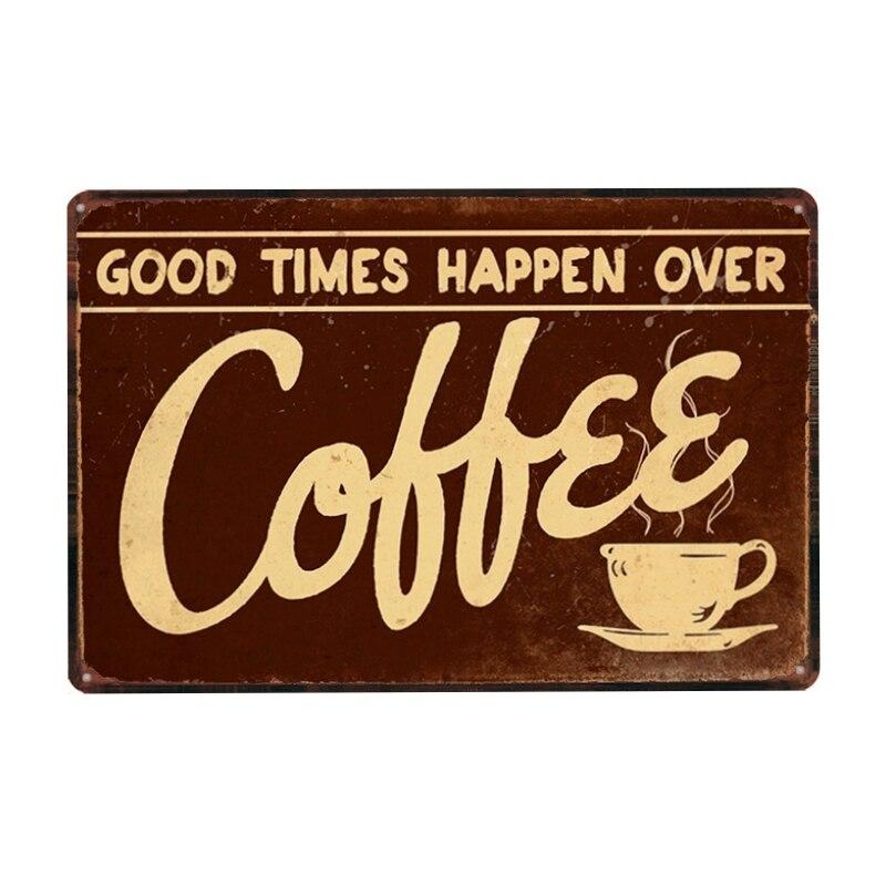 Хорошее время случается над кофе металлическая жестяная вывеска винтажная тарелка настенная тарелка для паба ресторана домашний художест...
