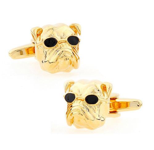 Niedlichen Hund mit Glas Manschettenknöpfe für Herren Zubehör Gold Farbe Manschette Link Luxus Männer Schmuck Manschettenknöpfe Hohe Qualität