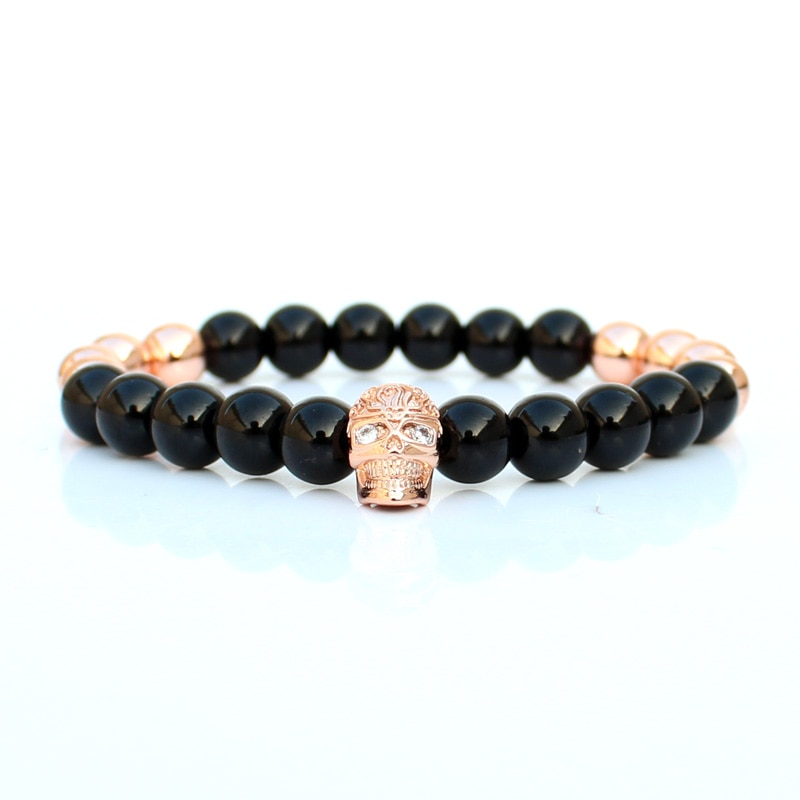 8mm grânulos de pedra pulseira crânio masculino pulseiras para mulher 2019 braslet pulseira jóias erkek bileklik atacado presente especial