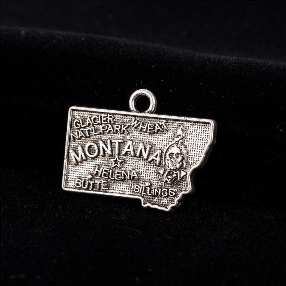 Aleación my shape Montana mapa del estado joyería abalorios tibetanos de plata plateado 30 Uds