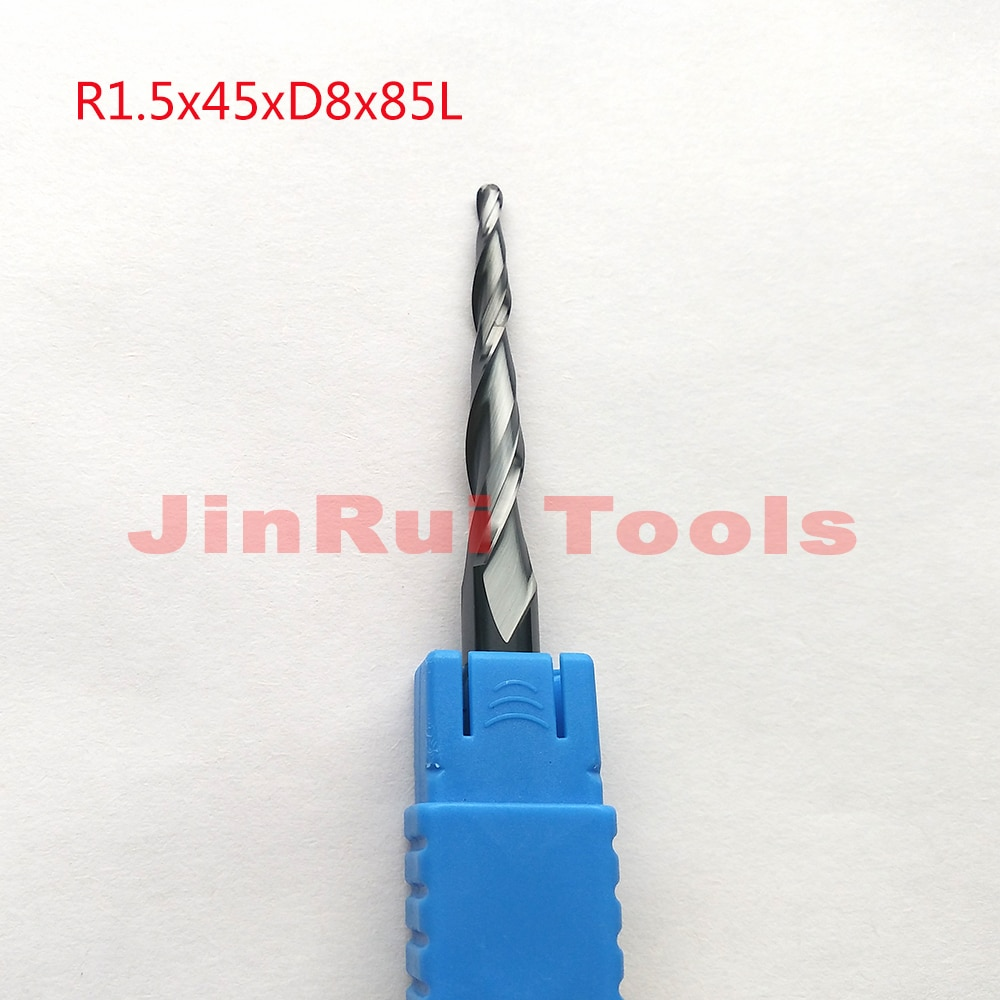 1 pc R1.5 * D8 * 45 * 85L * 2F HRC55 de tungsteno de carburo sólido de Tapered de extremo fresa CNC cortador cuchillo