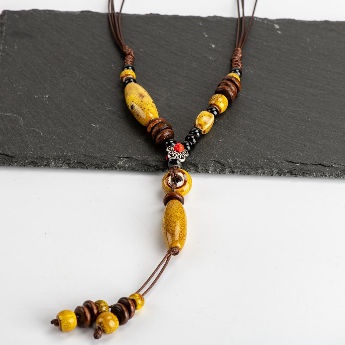 Ожерелье из керамики Heaert, винтажное ожерелье с керамическими бусинами в китайском стиле # IY268