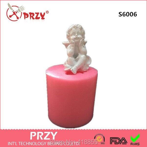 Molde de silicona 3d, molde de jabón, molde de vela de Ángel Cupido, hecho a mano, Diy para decoraciones de pasteles, moldes de goma de silicona S6006