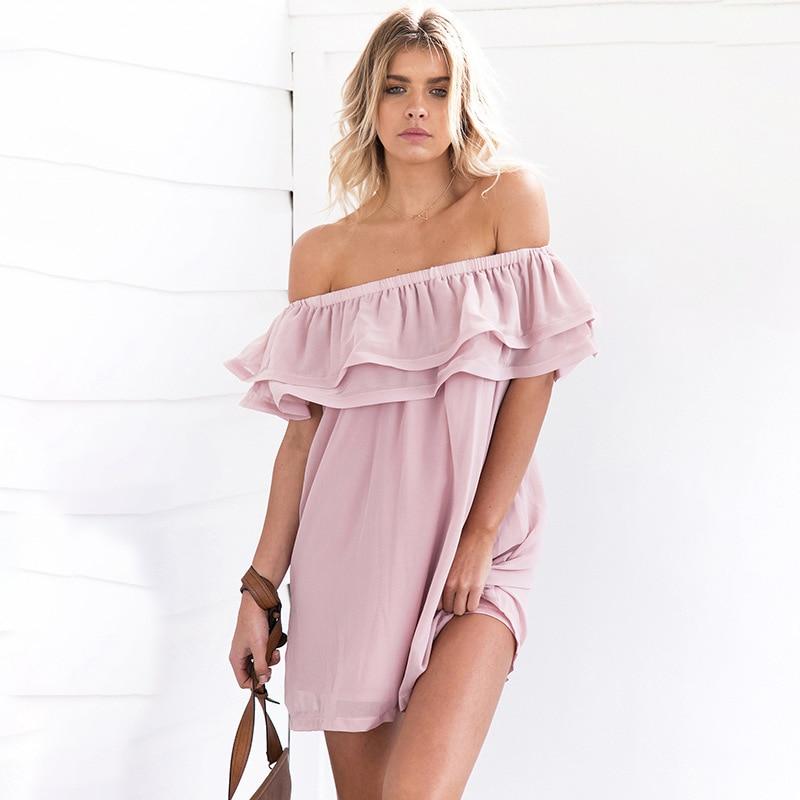 2020 verano caliente blanco rosa kawaii beach dress pullover espalda desnuda hombro doble volantes suelta mini vestido de gasa