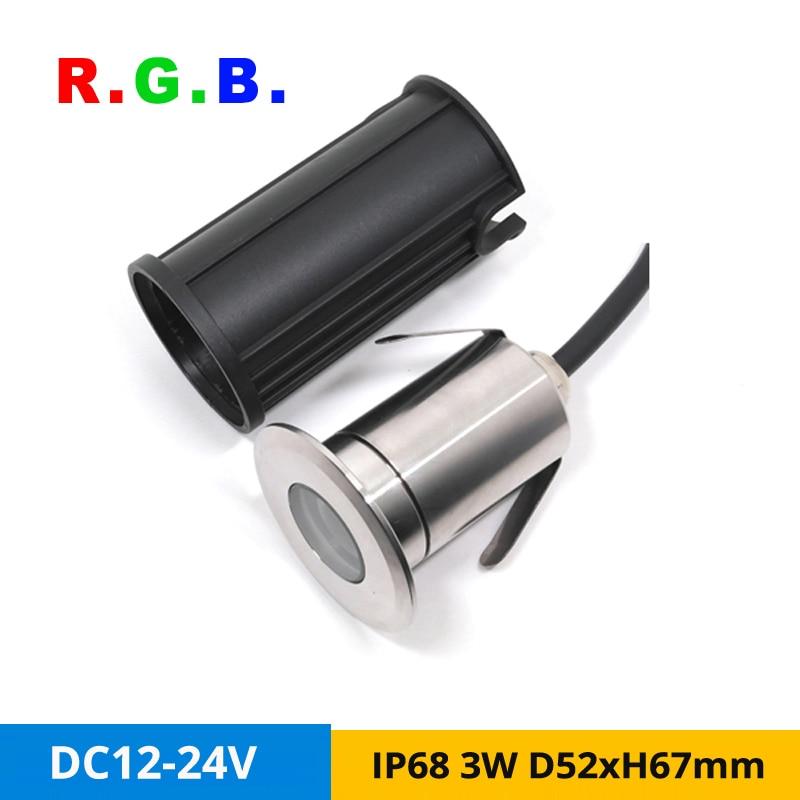 4 unids/lote IP68 3W RGB LED foco exterior empotrado iluminación de tierra 12V 24VDC Acero inoxidable lámparas subacuáticas agujero-Corte D36mm