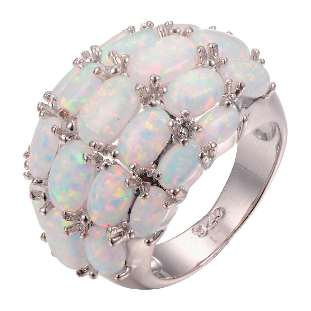 Venta al por mayor, anillo de Plata de Ley 925 ópalo de fuego blanco, anillo de moda, talla 6 7 8 9 10 11 F1265