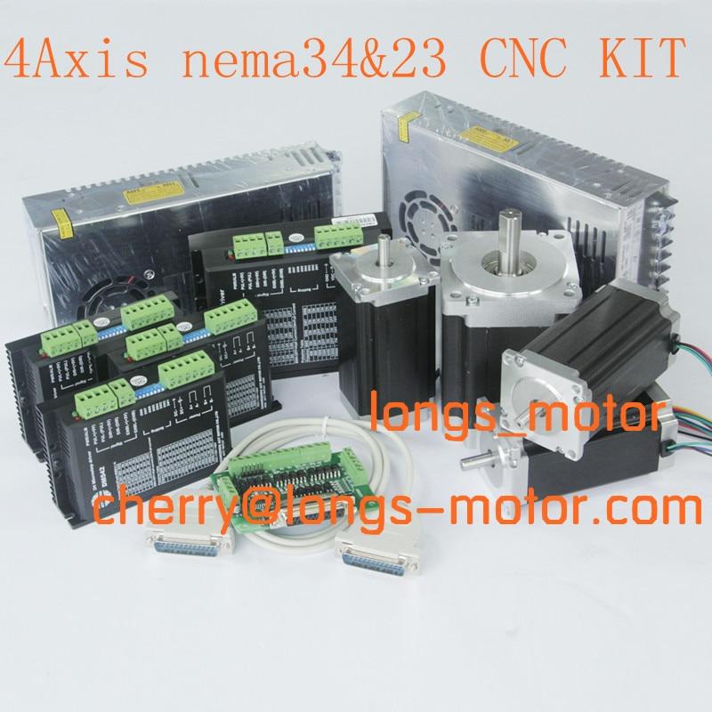 Moteur de broche Nema 34 4 axes   Axe et Nema23 moteur de marche, contrôleur de moteur de marche routeur, moteur baord DB25 ou Longs de moulin