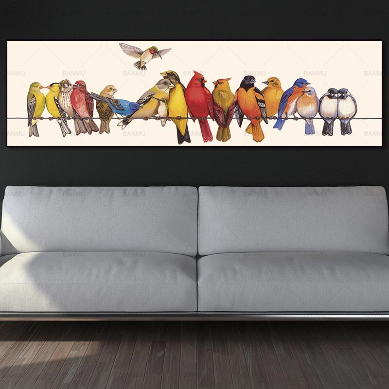 Lienzo pintura arte impresión pared imagen Decoración Para sala de estar pájaros encantadores en lienzo y cartel sin marco arte de pared pintura