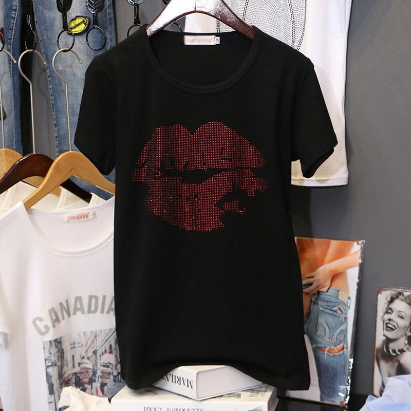 Hot drilling Plus Size Short sleeve T-shirt women 2020 new Summer Lip print Half sleeve printing Pullovers black loose tee tops