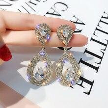 FYUAN Shine Rhinestone Geometric Drop Earrings for Women Bijoux Gold Silver Color Water Drop Dangle Earring Wedding Jewelry Gift