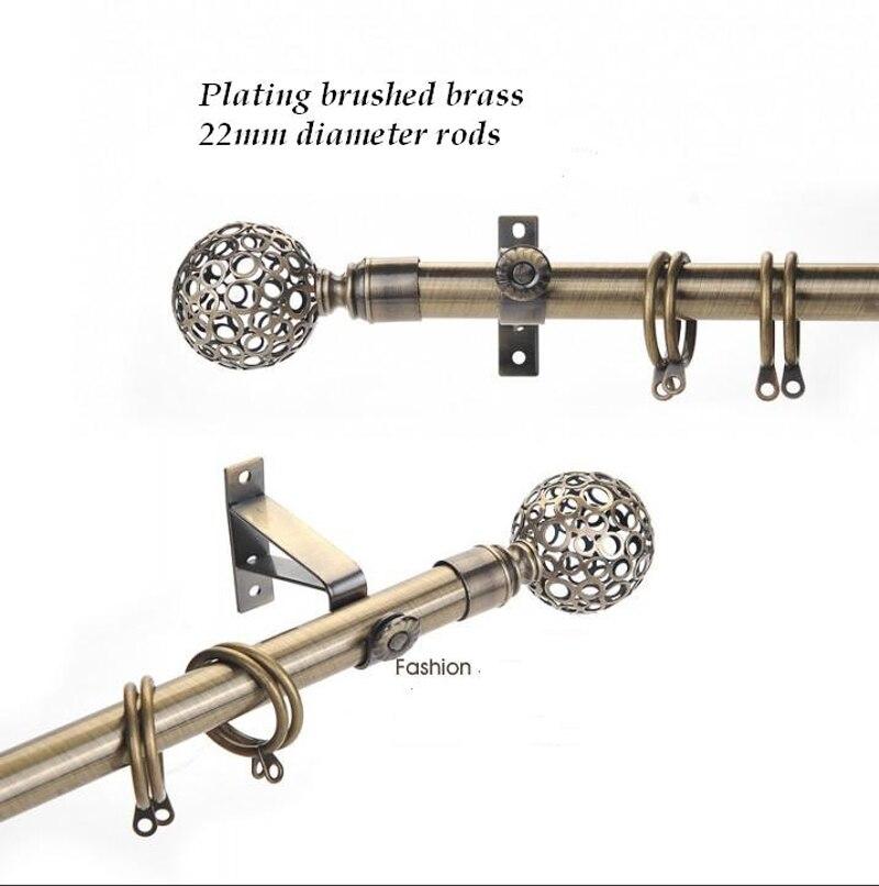 Cortina sencilla conjunto de varillas huecas de metal de alta calidad, chapada respetuosa con el medio ambiente, buena capacidad de carga, 22mm (7/8 pulgadas) de diámetro